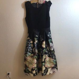 Ted Baker black floral dress , with back zipper
